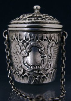 RARE ANTIQUE 800 SILVER CHATELAINE THIMBLE HOLDER CAST GERMAN c1890 SEWING | eBay