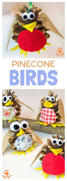 Easy and fun crafts for seniors as well as grandkids - Pinecone Birds are a fun kids craft all year round. At Christmas make an adorable pinecone robin ornament to hang on the tree. Pinecone crafts are a great way to introduce nature crafts for kids. Animal Crafts For Kids, Fun Crafts For Kids, Craft Activities For Kids, Toddler Crafts, Diy For Kids, Family Crafts, Craft Ideas, Christmas Crafts For Kids To Make At School, Nature Activities