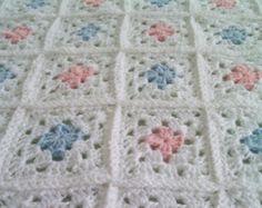 Whimsical Blue Crochet Baby Blanket / Baby Afghan by brendacurrie