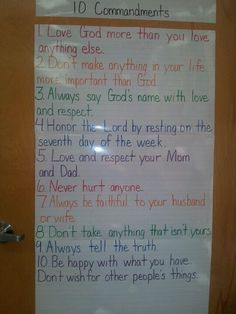 Kid friendly version of the 10 Commandments