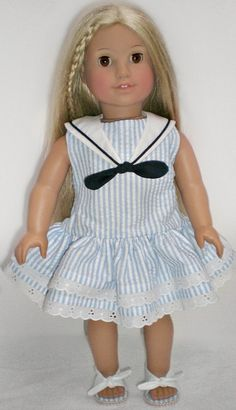 BLUE & WHITE STRIPED Ruffle Skirted Sailor Dress 18 inch doll clothes