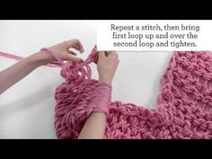 "Arm knitting tutorial by Michaels. Titled ""Arm Knitting for Beginners"" video. Finger Knitting, Loom Knitting, Hand Knitting, Knitting Patterns, Crochet Patterns, Knitting Ideas, Knitting Needles, Yarn Projects, Knitting Projects"