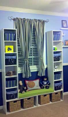 Storage Unit with window seat. Easy, affordable and great storage for a childs bedroom!