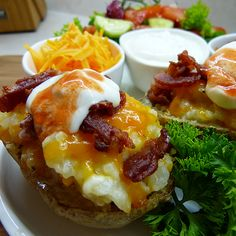 A meal unto itself! This tasty baked potato is stuff with mashed potato,cheddar cheese topped with bacon bits.