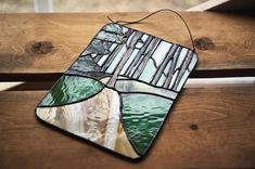 Stained Glass Hiking Trail by LuneRoom on Etsy Tree Puns, Modern Stained Glass, Window Ledge, Stained Glass Suncatchers, Happy Trails, Glass Texture, Sun Catcher, Hiking Trails, Green And Brown