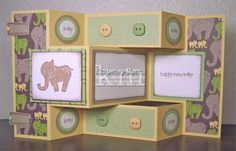 Tri-Fold Shutter Card Tutorial - this was quite easy and super cute. Great use of double sided paper Tri Fold Cards, Fancy Fold Cards, Folded Cards, Card Making Tutorials, Card Making Techniques, Scrapbooking, Scrapbook Cards, Baby Shower Cards, Baby Cards