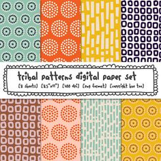 tribal patterns, circles, patterned paper. $4.00 For more ethnic fashion inspirations and tribal style visit www.wandering-threads.com