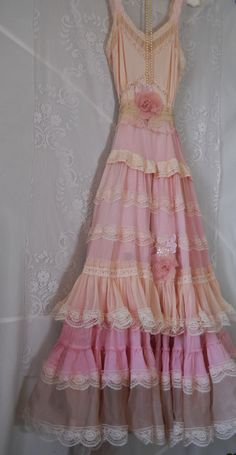 Pink ruffle dress boho maxi ruffles romantic by vintageopulence, $210.00