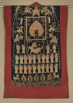"""Lao Tai Shaman's Coat  Laos.  19th century    Silk embroidery on cotton. 27""""x 44."""" The embroidery on this early shaman's vest is in good condition; the ragged and soiled red cotton borders are probably a replacement."""