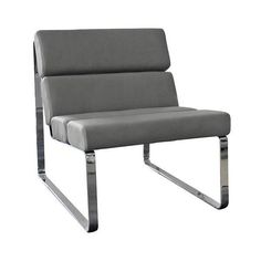 Angel Gray Faux Leather Accent Chair (4.405 NOK) ❤ liked on Polyvore featuring home, furniture, chairs and accent chairs