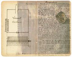 Magda Huygens  tekening op oud papier