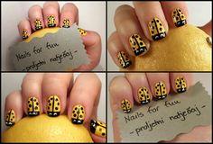 Yellow Lady Bug Nail Art (https://www.facebook.com/Nailsforfun)