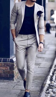e21ca0be3c36 Great business casual look inspiration! Tan men's suit with a black T-shirt.