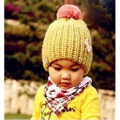 Warm Sleeve Caps Bowknot Baby's Knitting Wool Caps