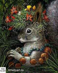 'Squirrel' by Carolyn Schmitz Art And Illustration, Illustrations, Squirrel Art, Rabbit Art, Bunny Art, Woodland Creatures, Whimsical Art, Animal Paintings, Pet Portraits