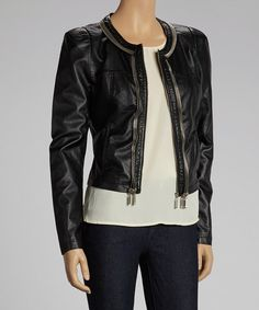 Feel fashionable and guilt-free in this sleek faux leather jacket. Featuring a sweet scoop neck silhouette and form-flattering panels, it's a chic finish to any edgy ensemble.Measurements (size S): 21'' long from high point of shoulder to hem55% polyurethane / 45% viscoseHand wash; hang dry