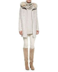 Loro Piana Montgomery Fur-Trimmed Cable-Knit Cardigan, Winterland Slouchy Turtleneck Sweater & Devin Twill Skinny Pants Fall 2015