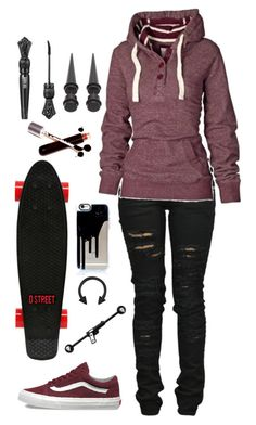 """""""I want Winter already"""" by cherry-demon ❤ liked on Polyvore featuring Denim of Virtue, Vans, Hot Topic, D-Street, Ødd., Anna Sui and Caliber"""
