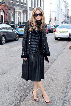 Olivia Palermo en el desfile FW14 de Pringle of Scottland durante la semana de la moda de Londres.