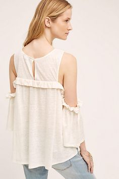 Ruffled Open-Shoulder Top - anthropologie.com