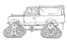 Series II Cuthbertson Tracked Land Rover Ink Drawing