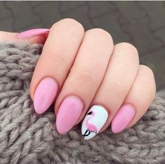 There are a variety of unique nail art designs. Flamingo nail design seems to be the best trend in the current season. Flamingos on white or pink backgrounds are great nail art designs. Of course, Flamingo Nail design is not limited to this, nail art Short Pink Nails, Cute Pink Nails, Pink Nail Art, Nail Art Designs, Nails Design, Flamingo Nails, Pink Manicure, Trendy Nails, Nail Arts