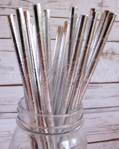 SOLID SILVER METALLIC 25 Paper Straws, Birthday, Party, Wedding, Paper Straws by CandyCupcakeShop on Etsy https://www.etsy.com/listing/230346121/solid-silver-metallic-25-paper-straws
