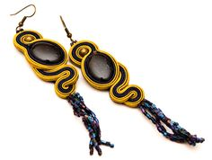 Extra long lemon zest starlight earrings by MANUfakturamaanuela, $35.00