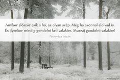 Petrovácz István #idézet az első hóról I Love You, My Love, Life Quotes, Poetry, Snow, Outdoor, Christmas, Hair, Quotes About Life