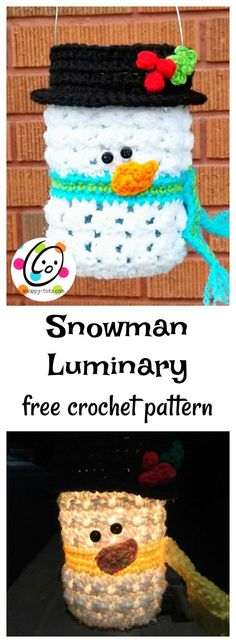 I'll never have enough snowmen! Ever since I made my first crocheted luminary cover, Bonbon the Owl, I've wanted to make a snowman luminary. When Maria of Pattern Paradise invited me to be part of this year's annual 12 Weeks of Christmas CAL it seemed the perfect time to make him. Com