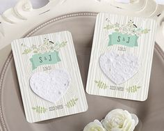 Love Grows Personalized Heart Seed PaperCards (Set of 12)- By Kate Aspen