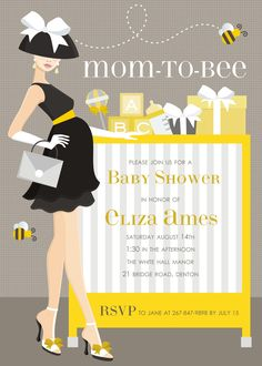 """Mom-to-Bee! Invitation by Doc Milo ~ This baby shower invitation is sure to """"bee"""" a hit with the expecting mom. This shower invite showcases a chic and sophisticated mama showing off her baby bump, against a taupe background with a baby crib filled to the top with gifts galore. The yellow, black and white color palette allows for this baby shower invite to be used for a gender neutral baby shower too!"""