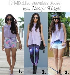 REMIX your wardrobe: three ways to wear a sleeveless lilac blouse...