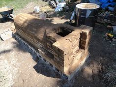 Jamie Smith, electric kiln conversion to wood firing, firebox ready for the stripped kiln body with matching bottom hole.  MO