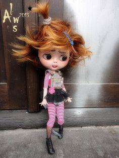 Ooak Art Doll Custom Blythe 8 PUNKETTE & by LesTizOrphelinByAlsw
