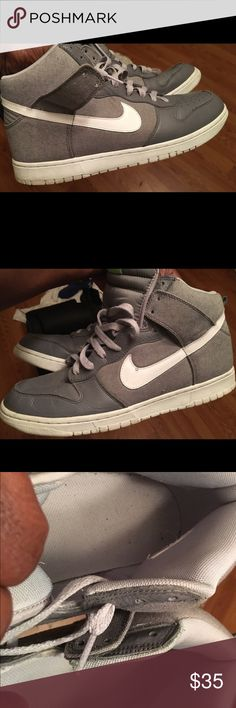 Men's Nike high top dunks size 12 Men's Nike high top dunks size 12, good condition, lots of wear still left in them, cleaning out my closet, too many shoes to wear, my loss is your gain, grab this deal while it lasts Nike Shoes Athletic Shoes