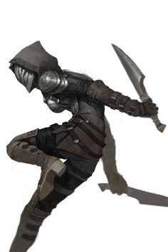 A hoodied assassin, dual weilding daggers. Striking fear among enemies with the weapons and the mask. The mask shows no emotion and could've been earned through training, showing skill within the character. Also the hood shadows the mask making it more menacing to look at striking fear.