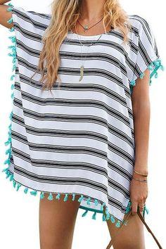 Women's Stripe Chiffon Trim Beachwear Bikini Cover-Up:Summer Fashion: Spring Outfits:Casual Outfits:Cute Outfits: Summer Outfits: Spring Outfits:Spring Outfits:Summer Dress
