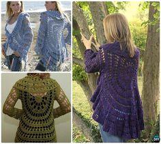 DIY Crochet Moonlight Mist Circle Sweater Coat Free Pattern-Crochet Circular… #Crochet, #Outwear