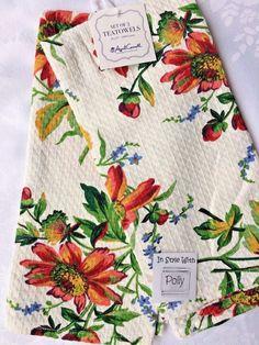 2 APRIL CORNELL KITCHEN TEA TOWELS FLORAL SPRING COTTON CREAM IVORY NWT #APRILCORNELL