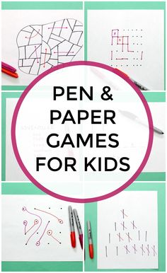 """"" Fun Pen and Paper Games to Cure Boredom """" Fun Pen and Paper games for kids that they can play offline. Pencil and paper games are good boredom buster and build brain power """" Paper Games For Kids, Pen And Paper Games, Pen & Paper, Games To Play With Kids, Family Fun Games, Educational Games For Kids, Indoor Activities For Kids, Pencil And Paper, Family Game Night"
