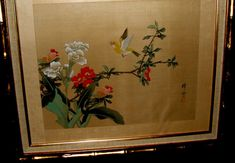 Outstanding LARGE Vintage Oriental Original Japanese Silk Watercolor Painting – Signed by Artist in calligraphy, seal stamped, Stunning Traditional