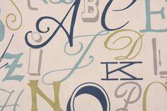 Premier Prints :: Premier Prints Alphabet Cotton Drapery Fabric in Felix/Natural $7.48 per yard - Fabric Guru.com: