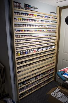 Paint storage solutions - Page 2 - International Scale Modeller… Paint Storage, Shop Storage, Craft Room Storage, Desk Storage, Garage Storage, Hobby Desk, Hobby Room, Hobby Shops Near Me, Studio Organization