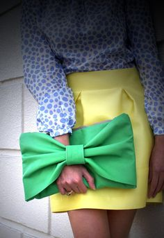 Kelly Green Bow Leather Clutch - adore.