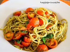 Easy diner: pasta met kerstomaten en spinazie - Hapjes Princess Gezond Eten Gezonde Recepten