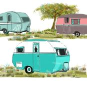 Lets Go Camping Retro Travel Trailers by salzanos, Spoonflower digitally printed gift wrap