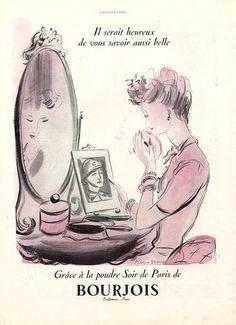 Bourjois (Cosmetics) 1939 Soir de Paris, Making-up, Regis Manset Vintage Labels, Vintage Ads, Vintage Posters, Vintage Images, Vintage Makeup Ads, Vintage Beauty, Perfume Ad, Vintage Perfume, Retro Advertising