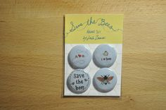 Save the Bees Button or Magnet Set by cupofstar on Etsy