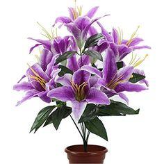 Sunonline® Silk Stargazer Lily Artificial Flower Bouquet Home/ Wedding Decoration (10 Flower Heads) (Purple), http://www.amazon.com/dp/B01CN49QK0/ref=cm_sw_r_pi_awdm_PFUcxb5FJT59V